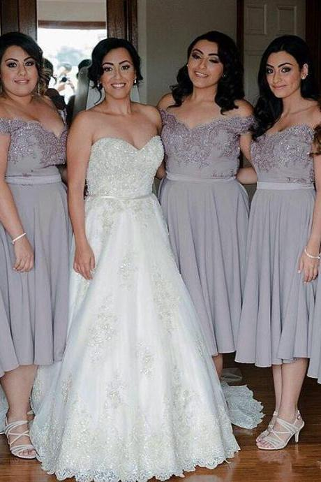 Short Bridesmaid Dress,Grey Lace Chiffon Bridesmaid Dresses,Tea Length Bridesmaid Dresses,Off the Shoulder Plus Size Bridesmaid Dress Prom Dresses