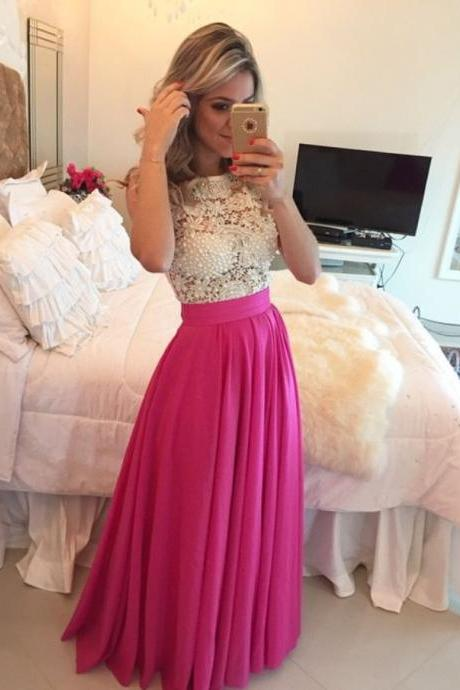 Ivory Lace Hot Pink Skirt Prom Dresses.High Neck Long Prom Dress,Pearls Cheap Evening Party Gowns,Formal Women Dress