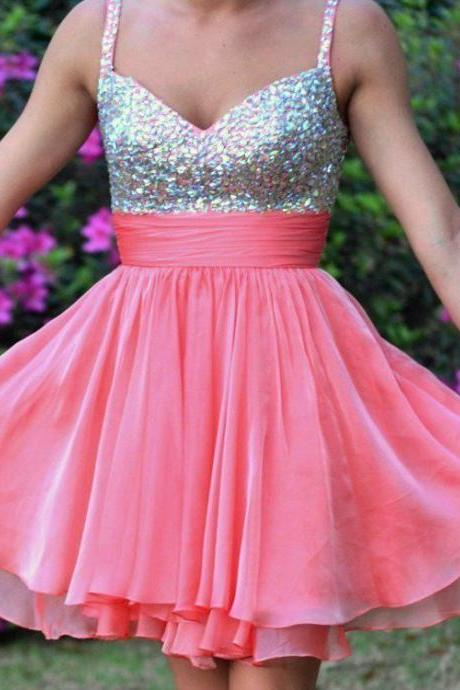 Spaghetti Straps Unique Pink Beadings Chiffon Short Homecoming Dress Prom Dresses
