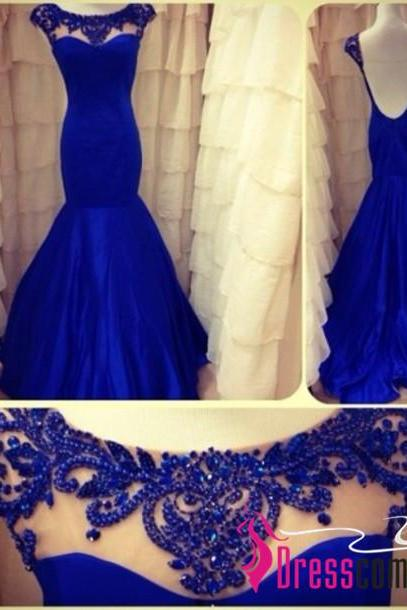 Sexy Mermaid High Neck Cap Sleeved Backless Royal Blue Prom/Evening Dress