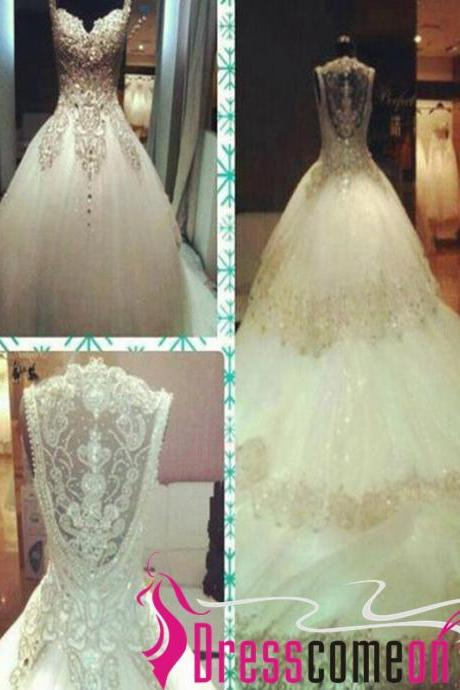 Heavy Beads Luxury Ball Gown Wedding Dresses, Sexy See Through Cathedral Train Bridal Wedding Gowns Dress