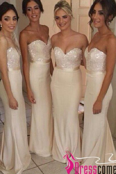 New Sexy Mermaid Sweetheart Beads Ivory Long Bridesmaid Dresses,Bridesmaid Dresses, Wedding Party Dresses,Prom Dresses,Bridesmaid Gowns BON30