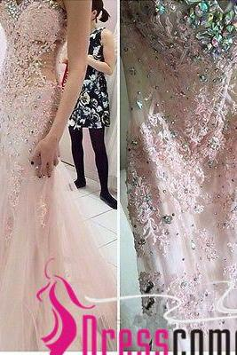 New Arrival Pearl Pale Pink Prom Dresses See Through Beaded Waist Tulle Mermaid Lace Prom Gown