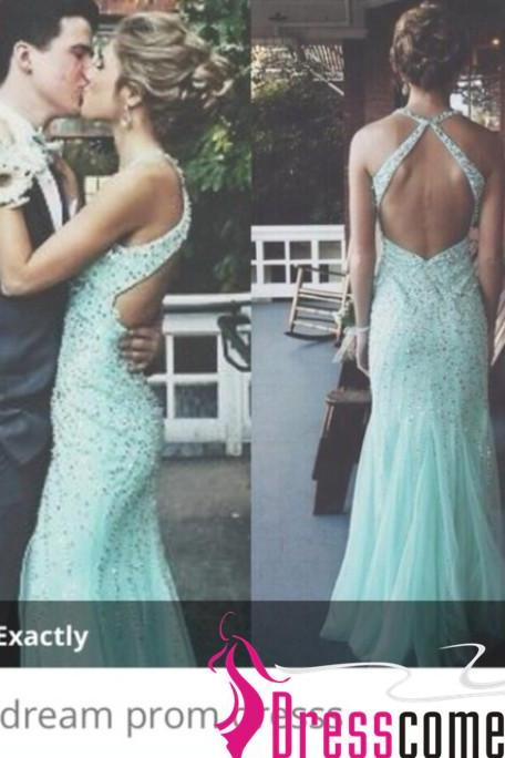 Light Blue Prom Dresses With Open Back Sparkly Beaded Bodice Long Tulle Mermaid Evening Prom Dress