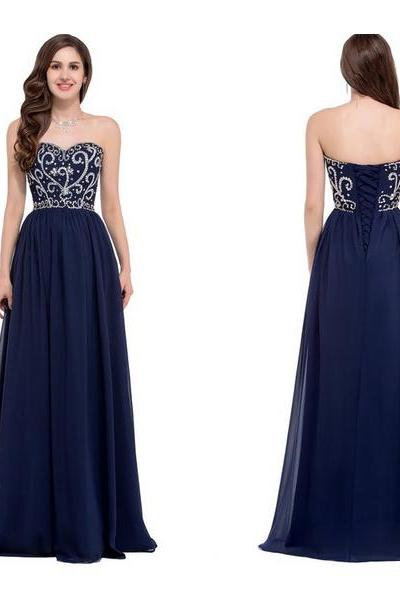 Navy Blue Prom Dresses Long Sweetheart Beaded Bodice Sparkly Elegant Prom Gowns