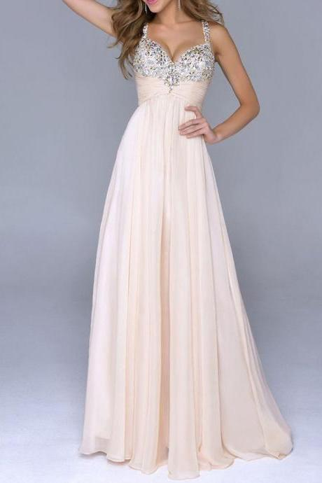 Pale Pink Prom Dresses Unique A Line With Straps Open Back Backless Chiffon Prom Gowns