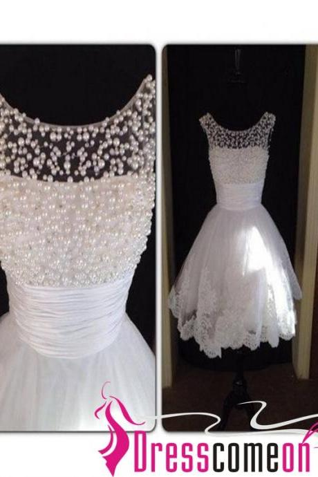 Pretty Custom White Lace Heavy Beads Short Prom Dress Homecoming Dresses Gown Evening Cocktail Bridesmaid Formal Dress