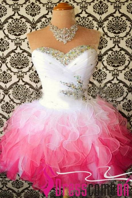 Sexy Ball Gown Ombre White Pink Tulle Short Homecoming Prom Dress Evening Cocktail Gown Bridesmaid Formal Dresses