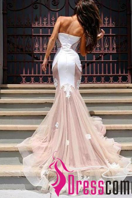 2017 Newest Mermaid Prom Dress Princess White Lace Blush Pink Tulle Long Prom Gowns,Cheap Evening Dress