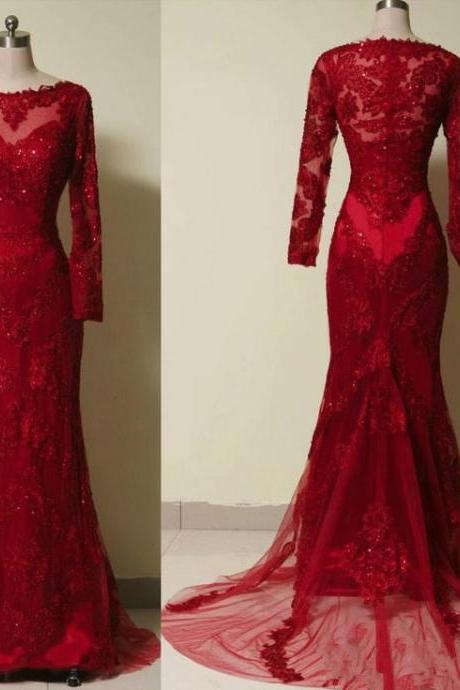 New Style Backless Lace Red Prom Dresses With Long Sleeves Beaded Bodice Pretty Mermaid Evening Prom Dress