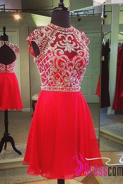 Sexy High Neck Red Homecoming Dresses Beaded Bodice Short Prom Dresses Backless Open Backs Evening Gown