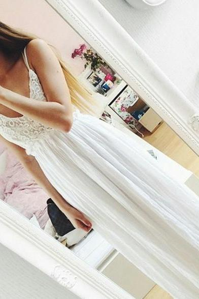 Hot Sales White Lace Backless Prom Dresses,Spaghetti Straps V Neck Long Evening Dress Prom Gowns,Open Back A Line Cheap Fashion Prom Party Dress