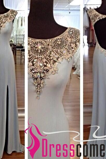 Sexy Sheath Scoop Cap Sleeved Gold Beads Slit Side Silver Gray Prom Dress