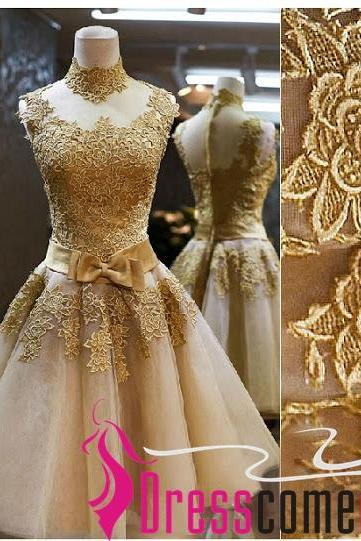 Beautiful Custom Ball Gown High Neck Tulle knee Length Gold Prom Dress