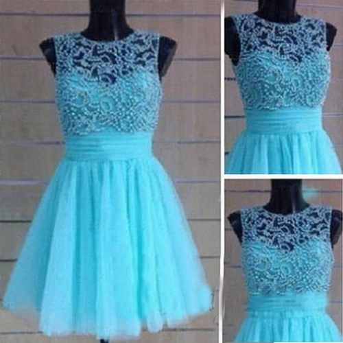 2017 A-line Homecoming Dresses Sleeveless Jewel Short/Mini Beading On Sale Zipper Dresses