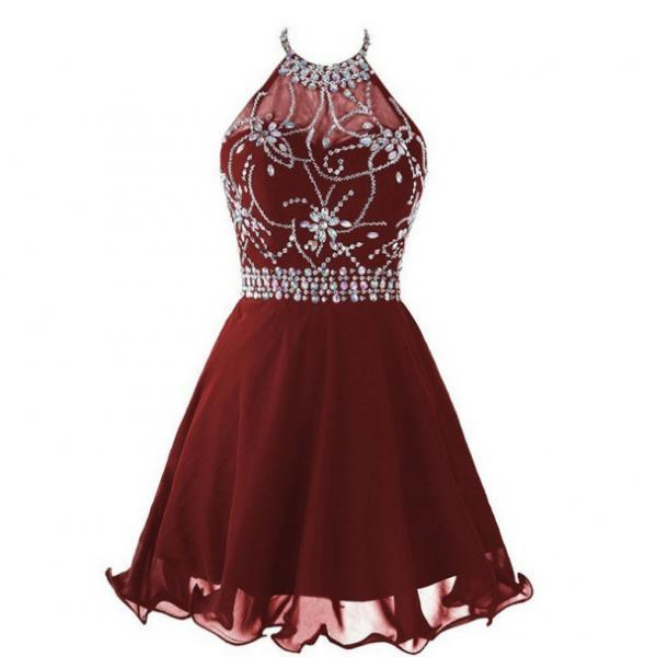 2017 A-line Homecoming Dresses Sleeveless Halter Short/Mini Beading On Sale Zipper Dresses
