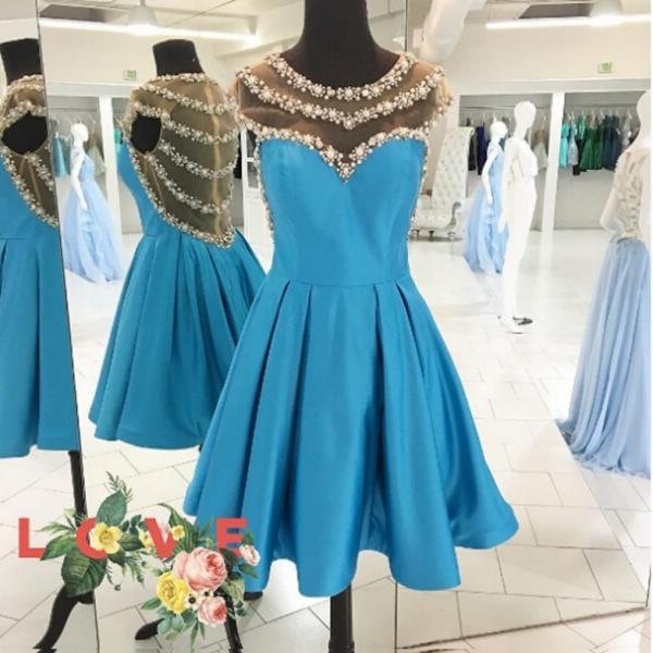 2017 A-line Homecoming Dresses Cap Sleeves Jewel Knee-length Pearl Outlet Zipper Dresses