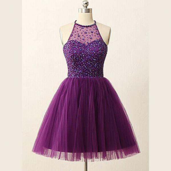 2017 A-line Homecoming Dresses Sleeveless Halter Short/Mini Rhinestone Sale Zipper Dresses