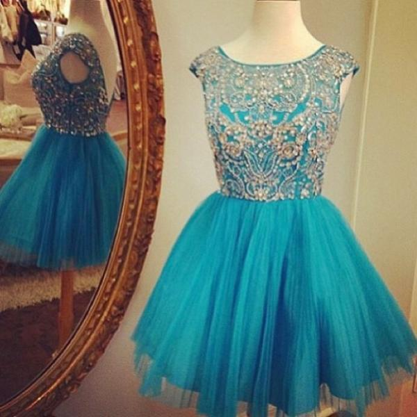2017 A-line Homecoming Dresses Cap Sleeves Bateau Short/Mini Beading Sale Zipper Dresses