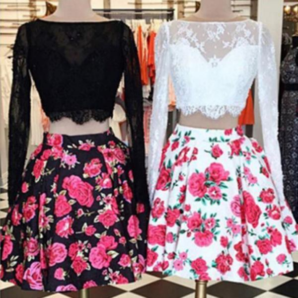 2017 A-line Homecoming Dresses Full sleeve Bateau Short/Mini Printed Discount Zipper Dresses