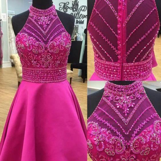 Rose Pink Homecoming Dresses Zippers Sleeveless Aline O-neck Above Knee Matte Satin Rhinestone