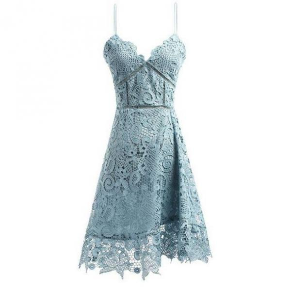 Blue Homecoming Dresses Zippers Sleeveless Aline Spaghetti Straps Knee-length Lace/Satin Lace
