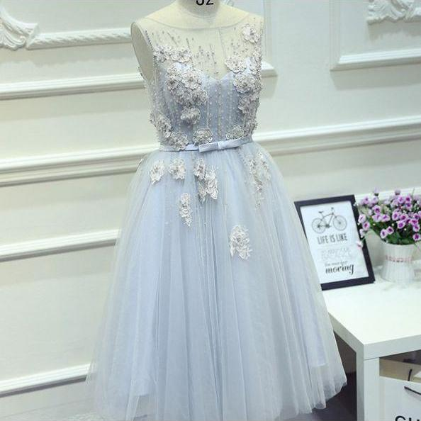 Light Blue Homecoming Dresses Appliques Sleeveless A-Line/Column Bateau Short Tulle