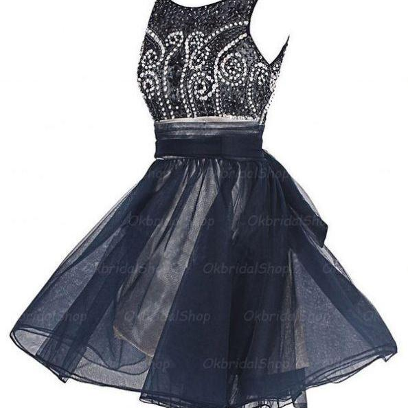 Black Homecoming Dresses Open Back Sleeveless A-Line/Column O-neck Above Knee Crystal Beads Ruffle