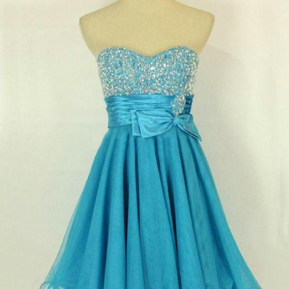 Blue Homecoming Dresses Lace-Up Sleeveless Empire Sweetheart Neckline Mini Bow