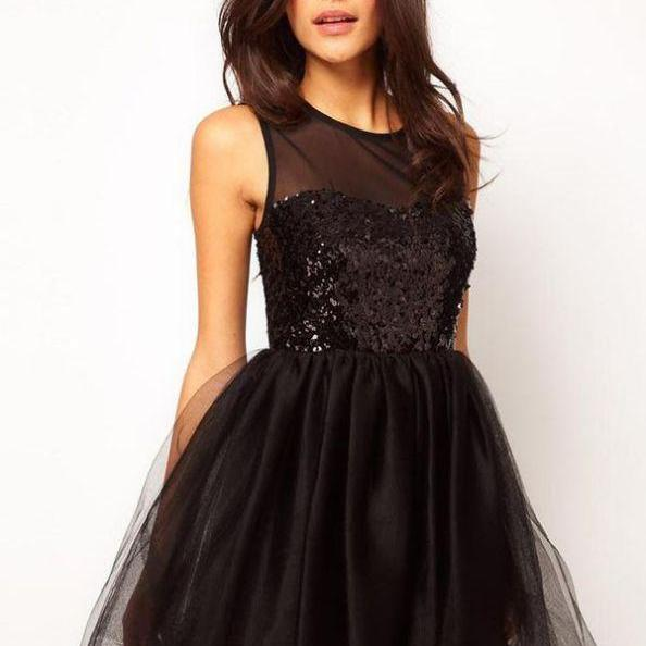 Black Homecoming Dresses Zipper-Up Sleeveless Gown Scoop Mini Sequined Sequined