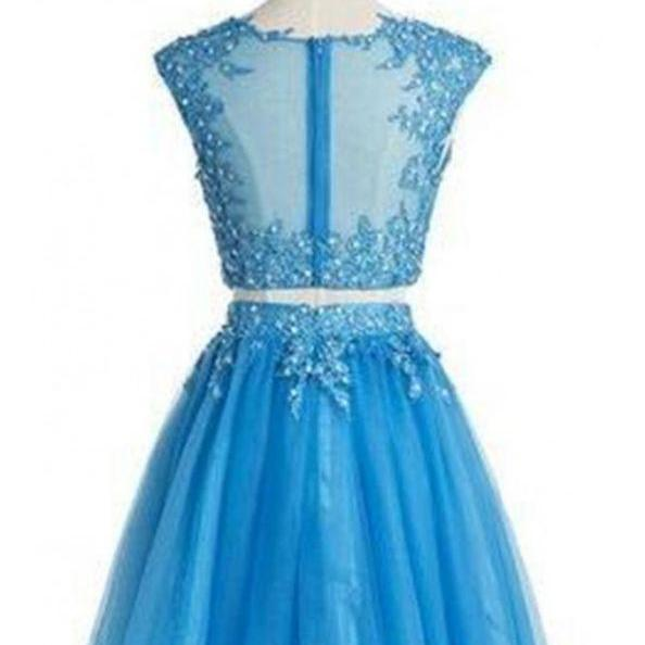 Blue Homecoming Dresses Appliques Sleeveless Aline Scoop Short Appliques