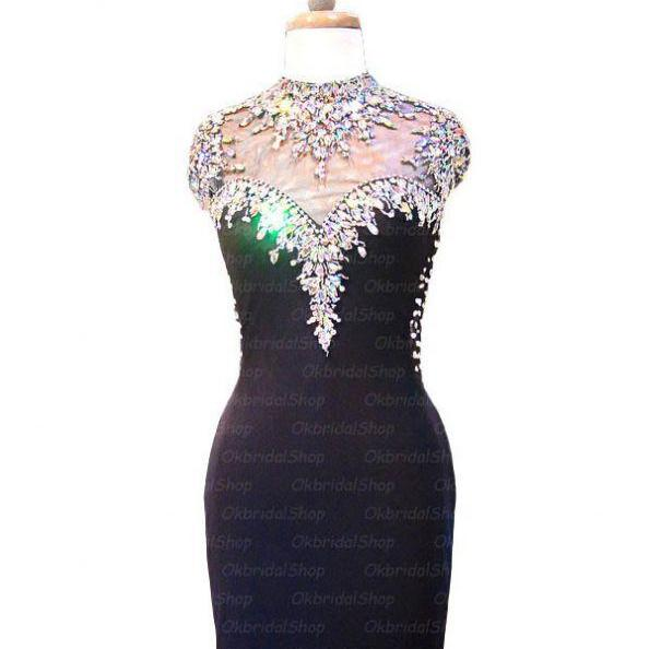 Black Homecoming Dresses Open Back Capped Sleeves Sheath/Column Jewels Short Beadings