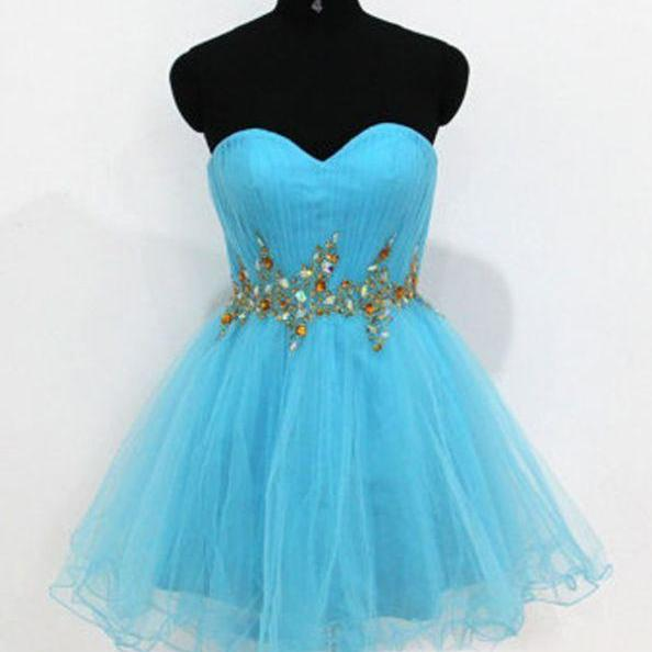 Blue Homecoming Dresses Laced Up Sleeveless Gown Sweetheart Neckline Short Crystal Beads Ruffle