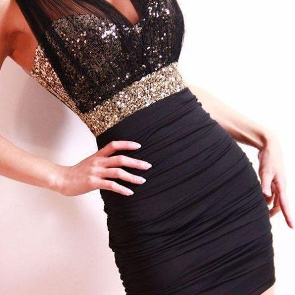 Black Homecoming Dresses Open Back Sleeveless Column V Neck Short Sequins Sequined