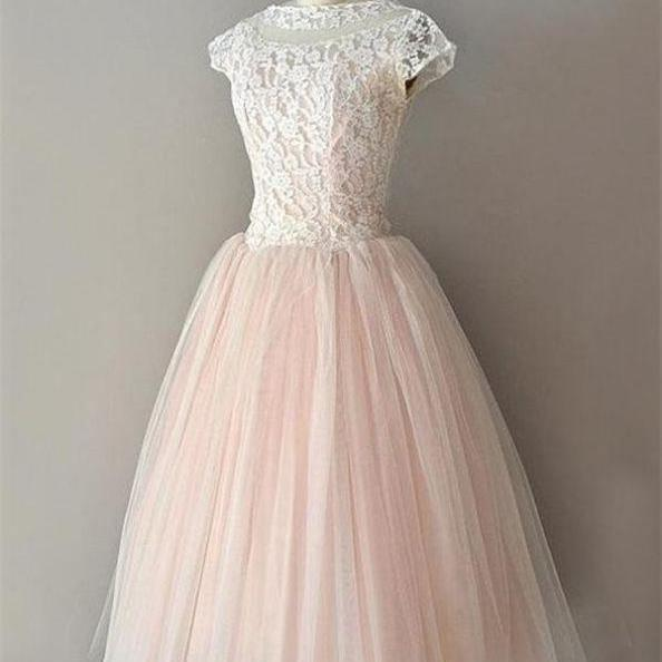 Pink Homecoming Dresses Zippers Capped Sleeves A lines Round Neck Short Tulle