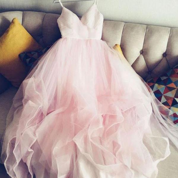 simple spaghetti straps v neck tulle pink prom\/evening dress, pink tulle bridal dress OK228