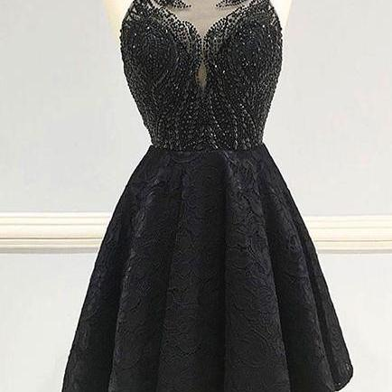 Fashion A-Line Round Neck Black Backless Lace Beaded Short Homecoming\/Prom Dress OK309