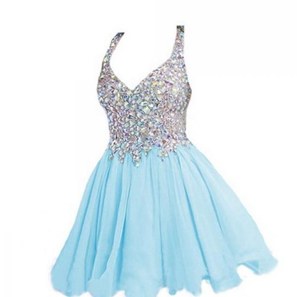 Light Sky Blue Beaded V-neck Homecoming Dresses ED0687