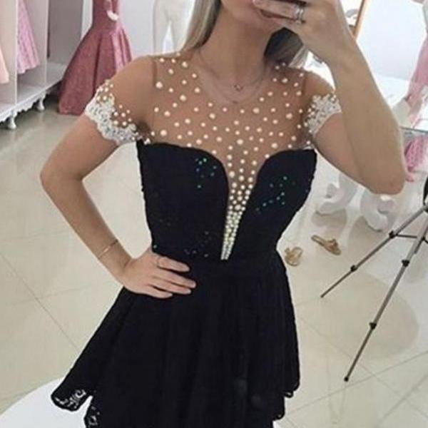 Black Short Sleeves A-line Beaded Elegant Homecoming Dresses K428