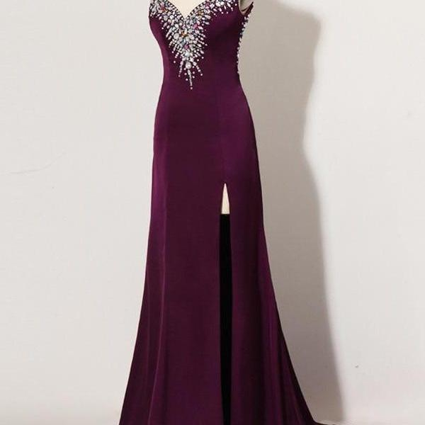 Sweep Train Plum Beaded Long Front Split Mermaid Prom Dresses For Teens K740