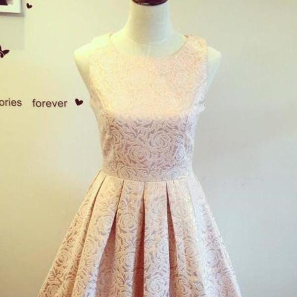Formal Handmade Lace Short Close Back Homecoming Dresses K365