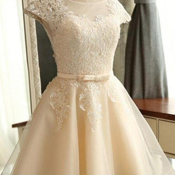 Beautiful Short Sleeves Lace Tulle Classy Homecoming Dresses K357