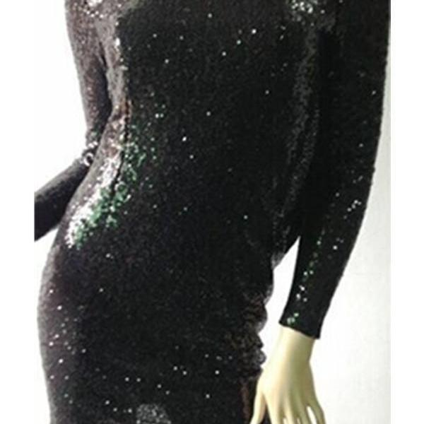 Long Sleeves Sequin Shiny Short Open Back Homecoming Dresses K358