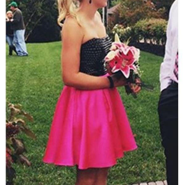 Simple Strapless Open Back Hot Pink Short Homecoming Dresses K470