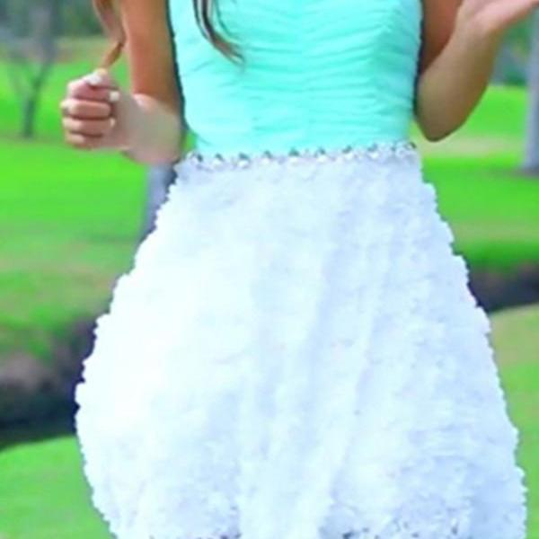 Mint Sweetheart Lace Simple Cheap Short Prom Dresses K540