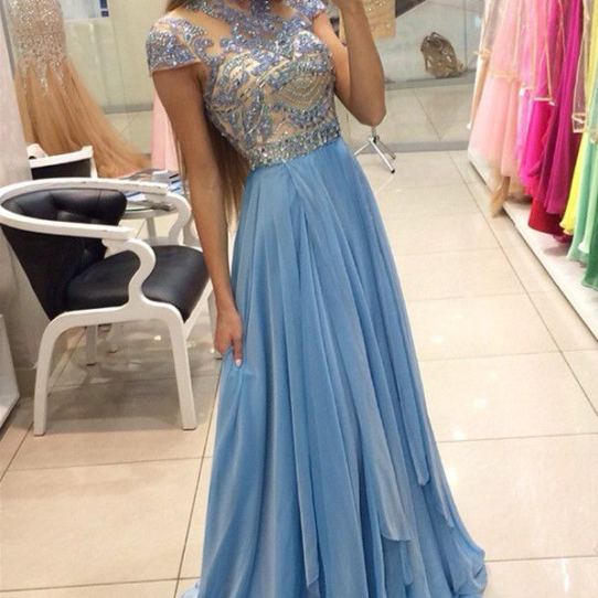Light Blue Long Beading High Neck Sparkly Cute Prom \/Evening Dresses OK144