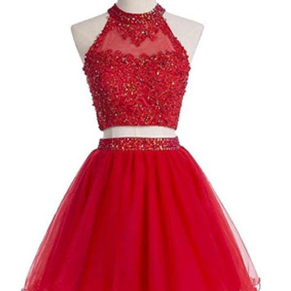 Sparkly Light Red Beaded Two Pieces Lace A-line Tulle Homecoming Dresses K504