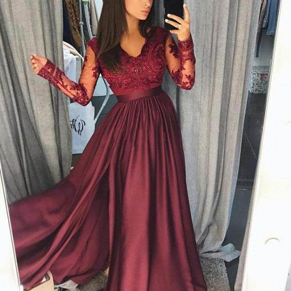 Long Sleeves Party Dress, A-Line Party Dress, Burgundy Party Dress, V Neck Party Dress BOHO429117
