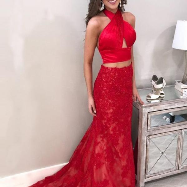 Evening Dresses Red, Backless Prom Dresses, Evening Dresses Two Piece, Evening Dresses Mermaid BOHO429372