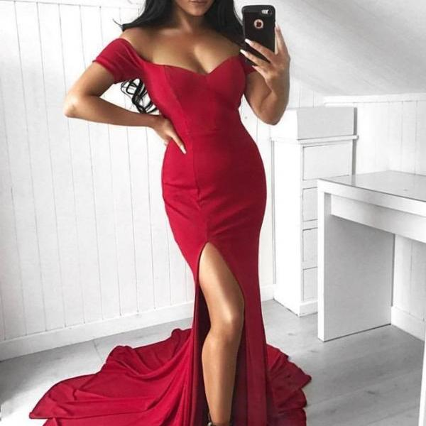 Prom Dress Red, Red Mermaid Prom Dress, Prom Dress Mermaid, 2018 Prom Dress BOHO429375